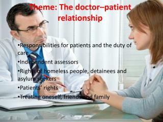 Theme:  The doctor–patient relationship