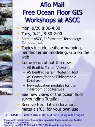 Afio Mai! Free Ocean Floor GIS Workshops at ASCC