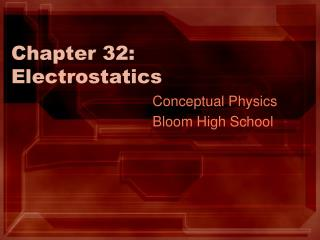 Chapter 32: Electrostatics
