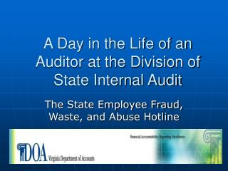 A Day in the Life of an Auditor at the Division of State Internal Audit