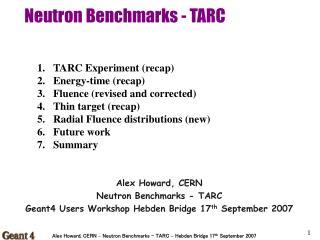 Neutron Benchmarks - TARC