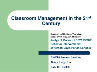 Classroom Management in the 21st Century