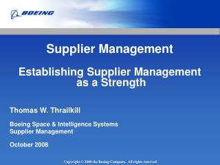 Supplier Management Establishing Supplier Management  as a Strength