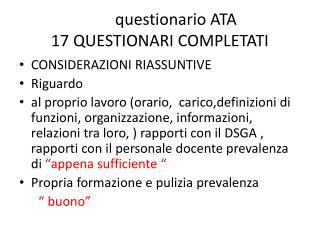 questionario ATA 17 QUESTIONARI COMPLETATI