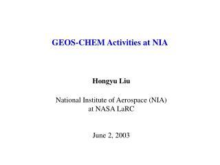 GEOS-CHEM Activities at NIA