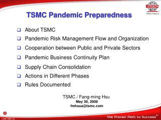 TSMC Pandemic Preparedness