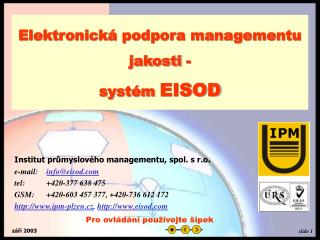 Elektronická podpora managementu jakosti -  systém  EISOD