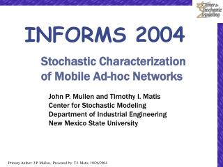 Stochastic Characterization of Mobile Ad-hoc Networks