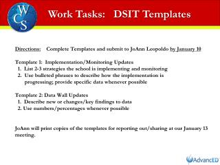 Work Tasks:   DSIT Templates