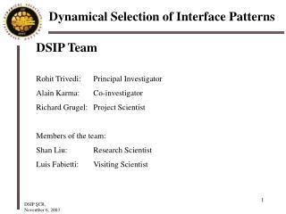 DSIP Team Rohit Trivedi:  Principal Investigator Alain Karma:  Co-investigator