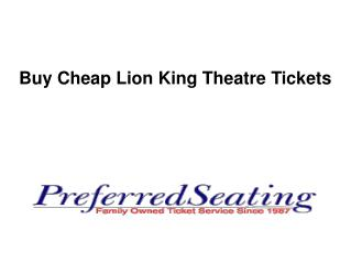 Buy Cheap Lion King Theatre Tickets