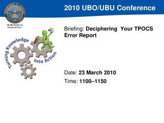 Briefing: Deciphering  Your TPOCS Error Report