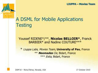 A DSML for Mobile Applications Testing