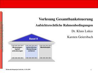 Vorlesung Gesamtbanksteuerung Aufsichtsrechtliche Rahmenbedingungen Dr. Klaus Lukas