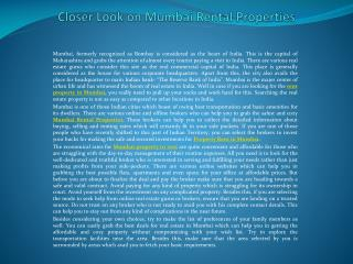 Closer Look on Mumbai Rental Properties