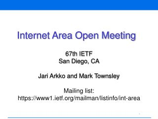 Internet Area Open Meeting