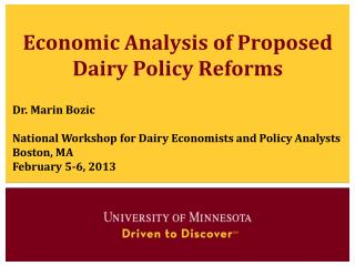 Economic Analysis of Proposed Dairy Policy Reforms