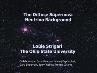 The Diffuse Supernova         Neutrino Background