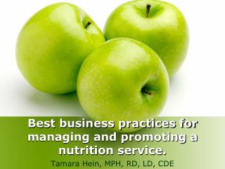 Best business practices for managing and promoting a nutrition service.