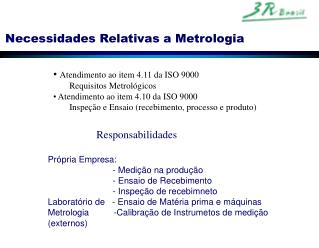 Necessidades Relativas a Metrologia