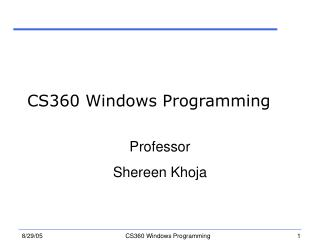 CS360 Windows Programming