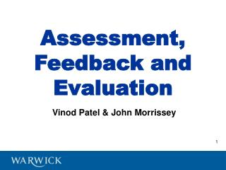 Assessment, Feedback and Evaluation