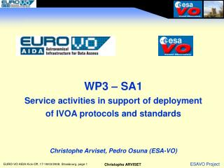 WP3 – SA1 Service activities in support of deployment of IVOA protocols and standards