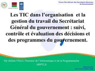 Par Jérôme VELO, Directeur de l'Informatique et de la Programmation  MFPTLS