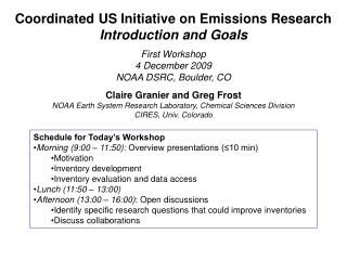 Coordinated US Initiative on Emissions Research Introduction and Goals