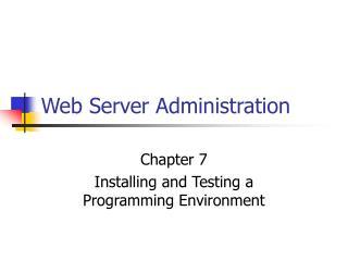Web Server Administration