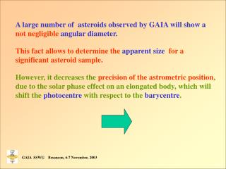 A large number of  asteroids observed by GAIA will show a  not negligible  angular diameter.