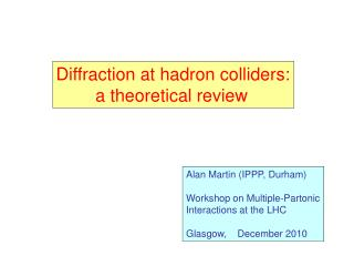Diffraction at hadron colliders:         a theoretical review