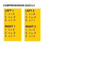 COMPREHENSION QUIZ 6.4