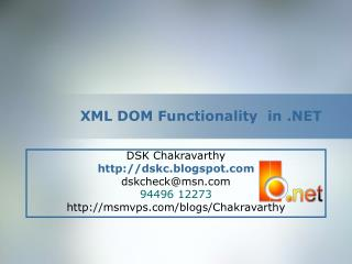 XML DOM Functionality  in .NET