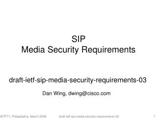 SIP  Media Security Requirements