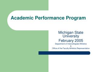 Academic Performance Program