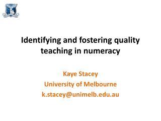 Identifying and fostering quality teaching in numeracy