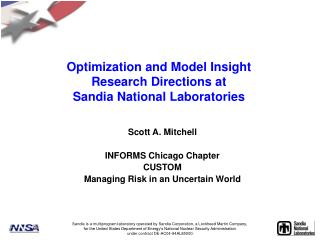 Optimization and Model Insight Research Directions at  Sandia National Laboratories