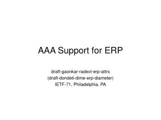 AAA Support for ERP