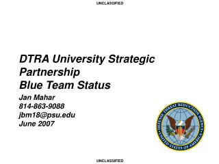 DTRA University Strategic Partnership Blue Team Status