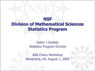 NSF  Division of Mathematical Sciences  Statistics Program