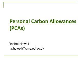 Personal Carbon Allowances (PCAs)