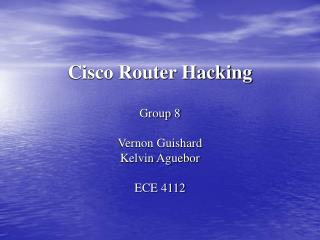 Cisco Router Hacking