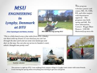 MSU  ENGINEERING  in Lyngby,  Denmark a t DTU (Tour Copenhagen and Malmo, Sweden)