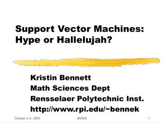 Support Vector Machines: Hype or Hallelujah