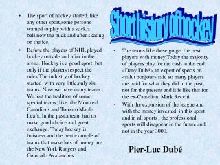 Short history of hockey