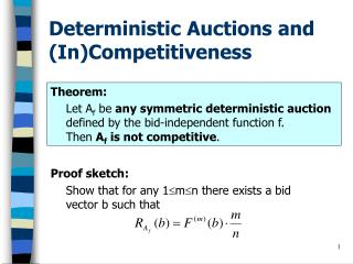 Deterministic Auctions and (In)Competitiveness