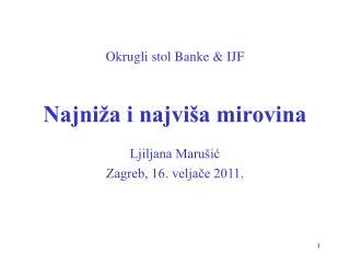 Okrugli stol Banke & IJF Najniža i najviša mirovina