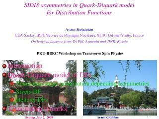 SIDIS asymmetries in Quark-Diquark model  for Distribution Functions