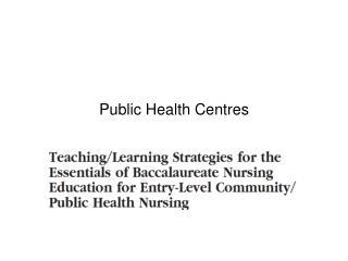 Public Health Centres